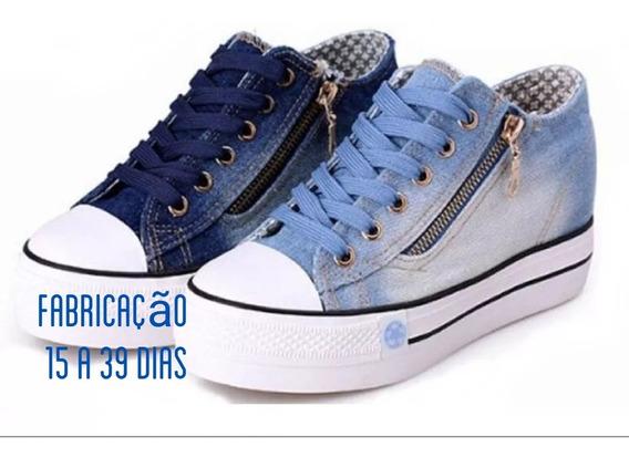 Tênis Plataforma Jeans Casual Zíper=por Encomenda!!!só Hoje!