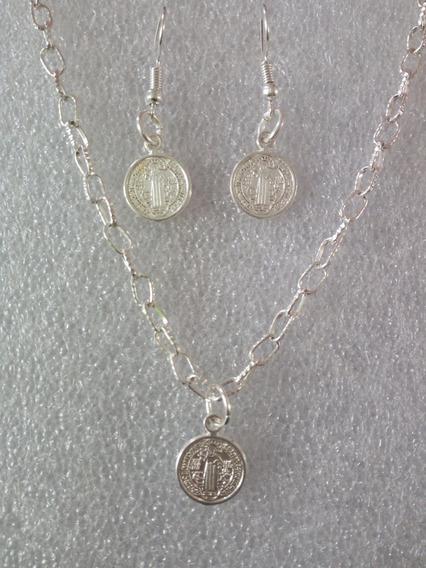 Collar Dije Y Aretes Medalla San Benito Bisutería
