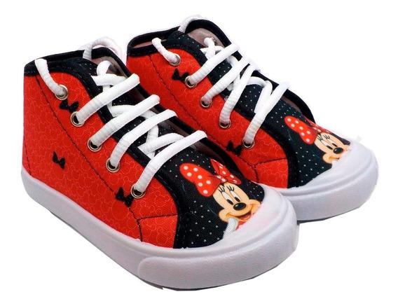 Tênis Infantil Personagens Minnie Mouse Vermelha Cano Médio