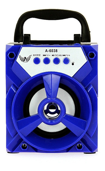 Caixa De Som Amplificado Pequena A-22 Ubs- Azul C/ Nfe