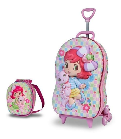 Mochila Escolar 3d Rodinhas Maxtoy Moranguinho Baby