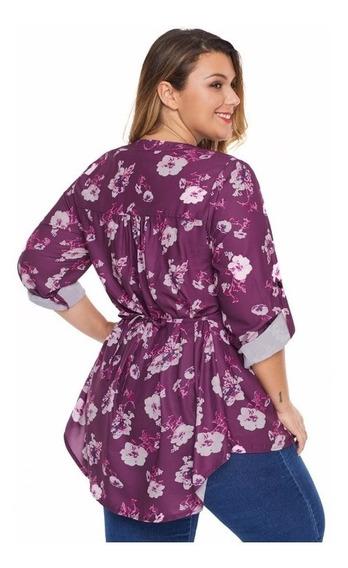 Blusa Hermosa De Día Floreada Talla Extra Plus