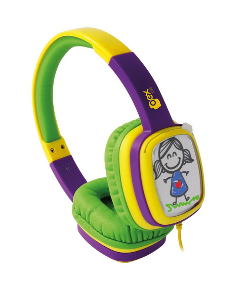 Fone Ouvido Headphone Cartoon Hp302 Oex Kids Verde E Roxo