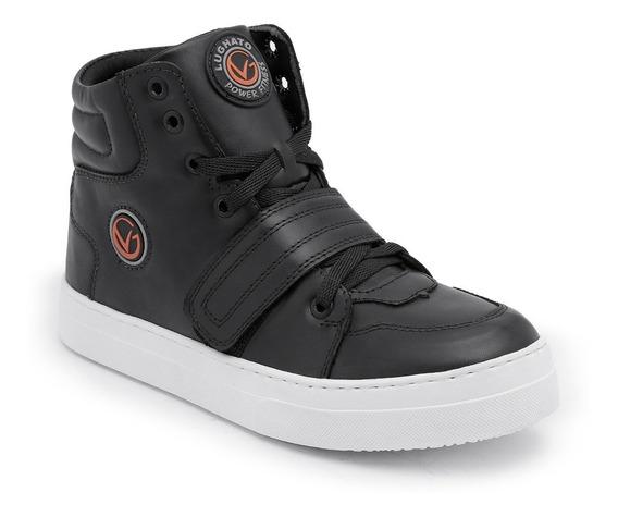 Botinha Treino De Couro Sneakers Feminino Lughato V2