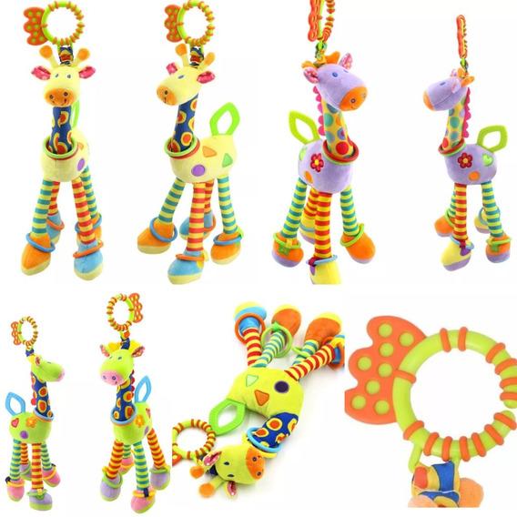 Brinquedo Girafa Mordedor Chocalho Pelúcia Naninha Bebê
