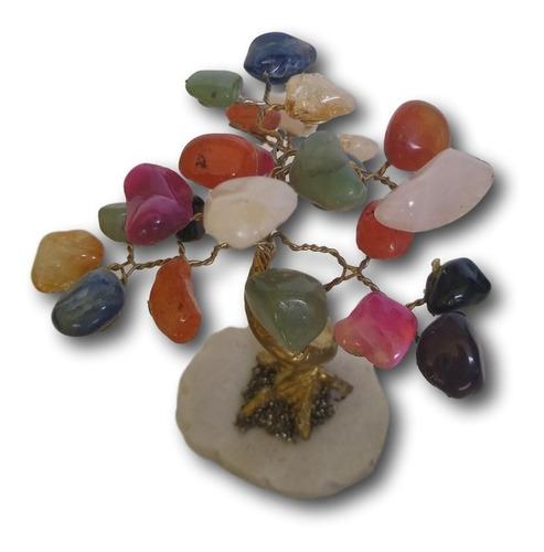 Árvore Da Felicidade Com Pedra Natural Mista Ref.0284