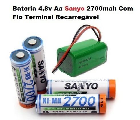 Bateria 4,8v Aa Sanyo 2700mah Com Fio Terminal Recarregável