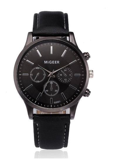 Relógio Social Masculino Migeer 2021 Couro Clássico Esporte