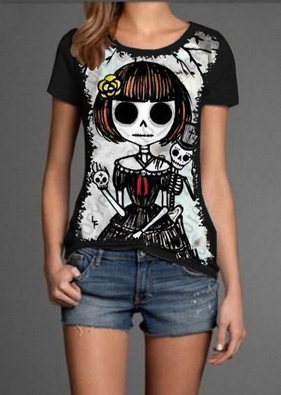 Desenhos Caveira Manga Curta Feminino Camisetas Blusas