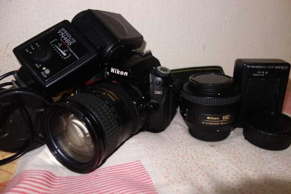Nikon D90+lente 35mm+18-200mm+flash Yn475 Ttl 66k