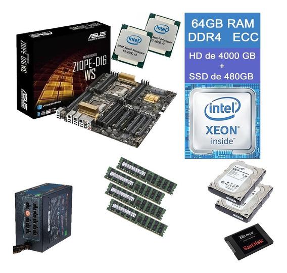 Asus Z10pe-d16 Ws Dual Xeon E5-2695 V3 64gb Ram Ddr4 Ecc