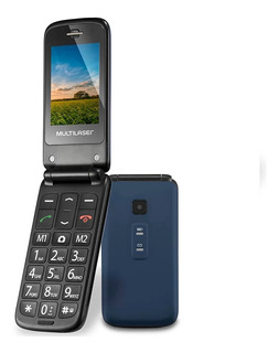 Telefone Celular Flip Vita Dual Chip Mp3 Azul Multilaser