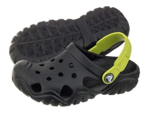 Crocs Swiftwater Sandalias Negras Niños 19 Cms