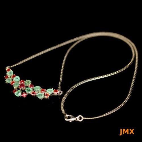 Collar De Esmeraldas Y Zafiros Color Naranja Naturales Jm74