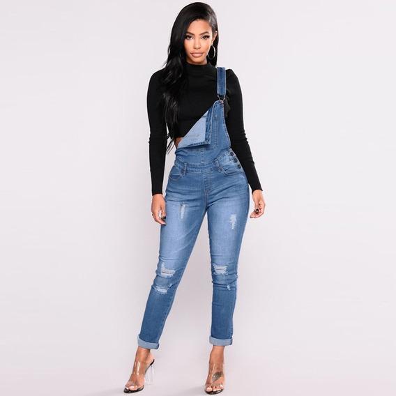 Overall Overol Denim Mujer Dama Jean Jeans