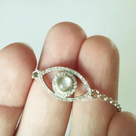 Pulsera Ojo De Piedra Luna Y Diamantes En Plata Sólida .925