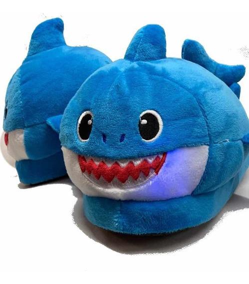 Pantuflas Con Luz Baby Shark Azul Niños