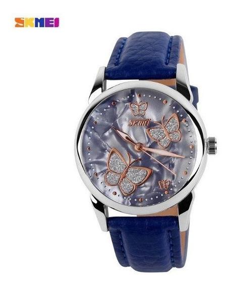 Relógio Feminino Skmei 9079 Pulseira De Couro