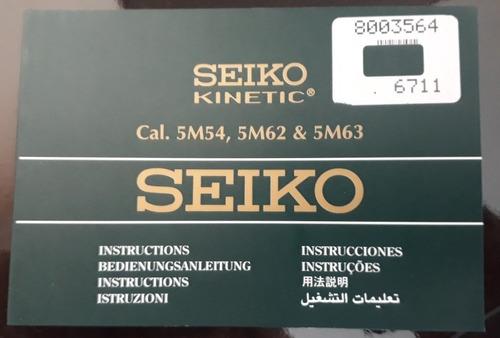Manual De Instruções Relógio Seiko Knetic Calibre 5m54,62,63