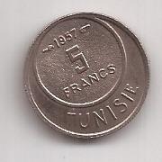 Tunez Moneda De 5 Franc Año 1957