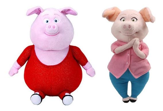 Pelúcias Porco Gunter E Porca Rosita Sing Beanie Boos Ty Dtc