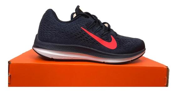 Tênis Nike Zoom Winflo 5 Azul E Laranja Original