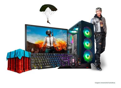 Imagem 1 de 8 de Pc Gamer Core I7 8gb Ssd Geforce Kit Gamer Tela19 Completo