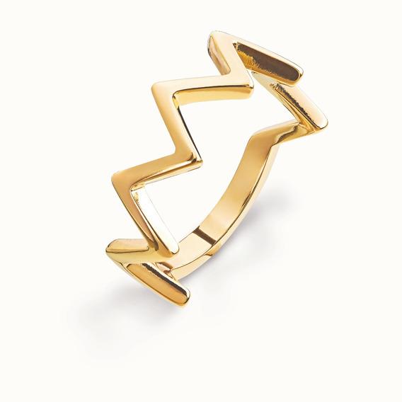 Anel Ronnelly Folheado A Ouro 18k Geométrico - Tamanho 16