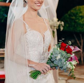 Vestidos De Noiva Semi Sereia Renda Bordada Off White + Véu