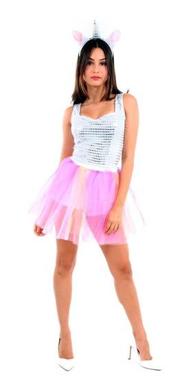 Roupa Body Shorts De Unicórnio Brilhante Adulto Luxo C/tiara