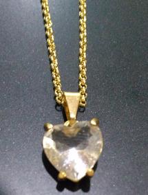 Corrente Coração Transparente Semi-joia Folheada A Ouro 18k