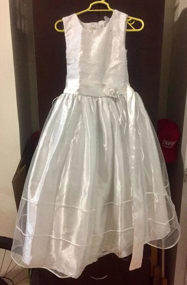 Vestido Para 1era Comunión Blanco-perla Para Niña De 7-9