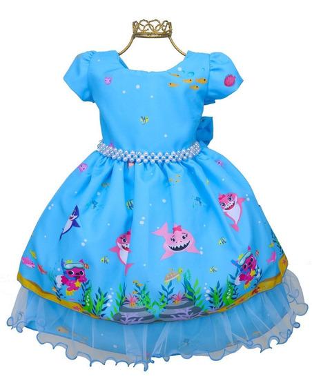 Vestido Festa Menina Tema Baby Shark Fundo Do Mar Azul Bn827