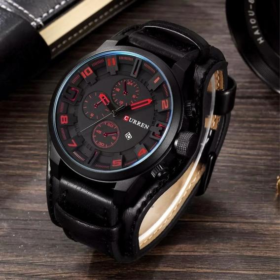 Relógio Masculino Original Luxo Couro Importado Com Garantia