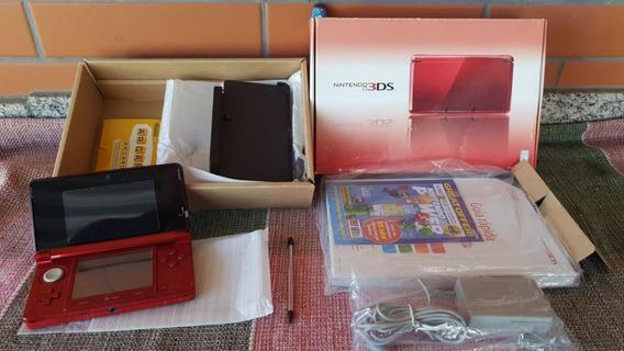 Nintendo 3ds Console Vermelho Americano Completo