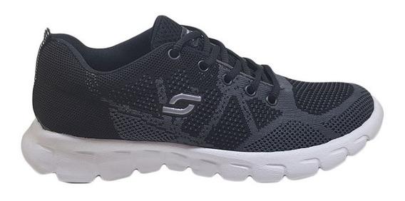 Zapatillas Soft Unisex Deportivas Tejidas Negro-gris Nº38/45