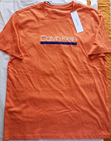 Playera - Calvin Klein / Talla L / Flame Naranja
