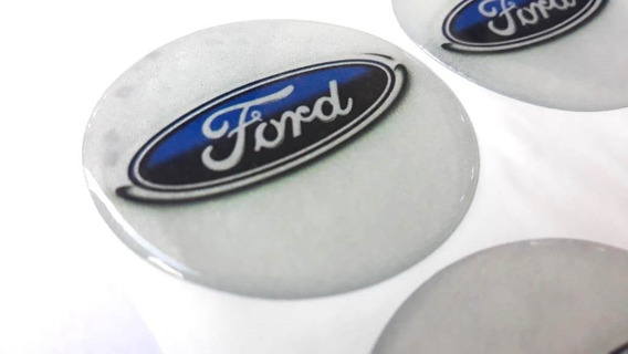 Kit 04 - Adesivo Calota Resinado Ford (50mm) + Chaveiro