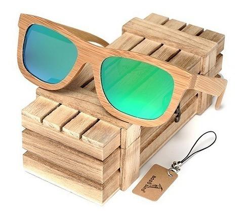 Óculos Sol Bobo Bird Bambu Original Lente Green Polarizada