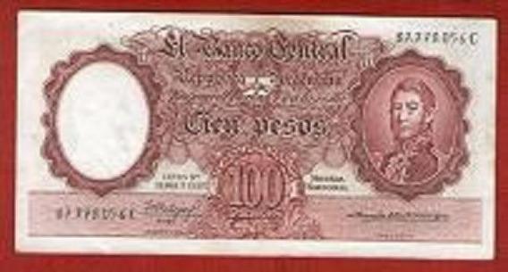 Billete Argentino 100 Pesos Leyes 12962 Y 13571