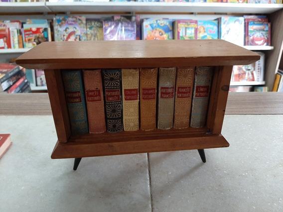 Coleção Mini Livros Antigos 8 Dicionários + Suporte De Madei