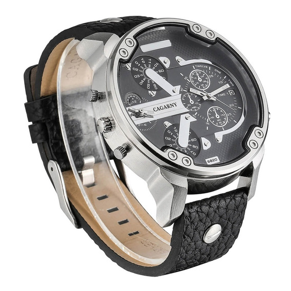 Relógio Cargany Modelo 6820 Pulseira De Couro Garantia