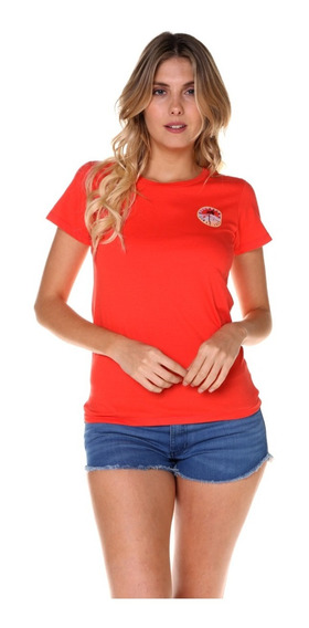 Remera M/c Billabong Sunny Side Tee Brújula Rojo Mujer