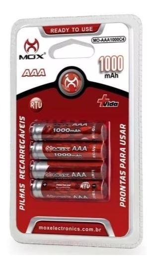 Pilhas Recarregáveis Aaa 1100 Mah - 04 Unidades
