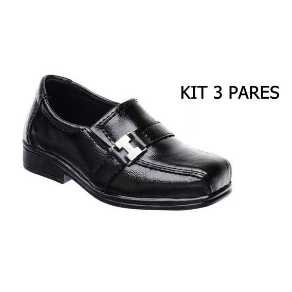 Novo Kit 3 Pares Sapato Social Infantil Promoçao !!
