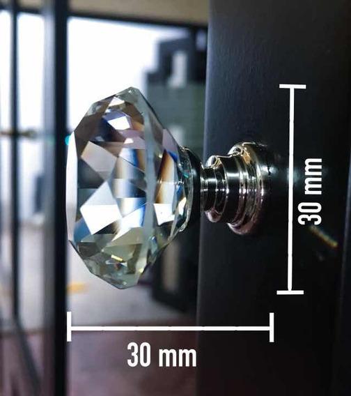 Perilla Jaladera D Cristal/ Diamante/30x30mm/set 6 Pz