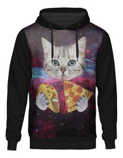 Blusa Moletom Capuz Tumblr Gato Galaxia Pizza Taco Galaxy