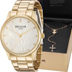 Kit Relógio Seculus Fem Jesus Cristo + Colar 28918lpskds1k1