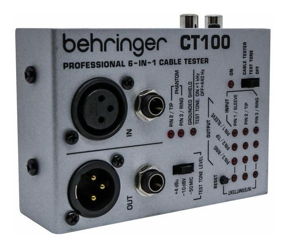 Testador De Cabos De Áudio Xlr P10 Rca Ct100 Behringer Nfe