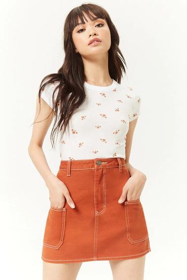 Forever 21 Falda Corta Algodon Naranja Costuras Contraste M